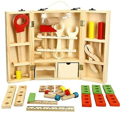 Wooden Tools Pretend Play Box Accessories Set Educational Construction Toys Kids