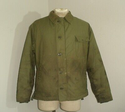 9f9cfdbd05a Vintage USN NAVY COLD WEATHER PERMEABLE sherpa lined deck Jacket XL 46-48