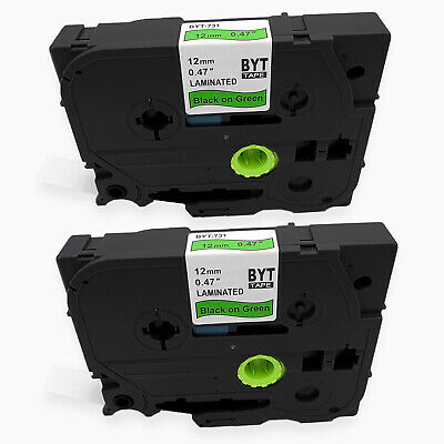 2PK 12mm Black/Green TZe TZ 731 Laminated Label Tape Compatible Brother P-touch