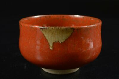 S747: Japanese Kiyomizu-ware Red glaze TEA BOWL Green tea tool Tea Ceremony