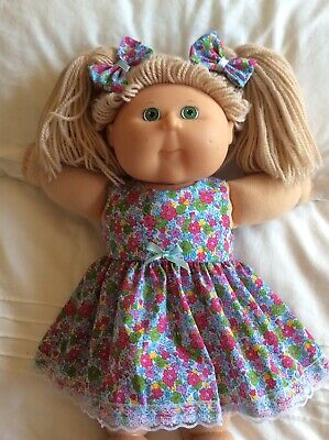 "DOLLS CLOTHES - DRESS & BOWS to fit 16"" CABBAGE PATCH ~ Blue Bright Flowers"