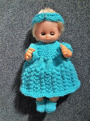 4pce Aqua set Hand Knitted Dolls Clothes 25-28cm 10in