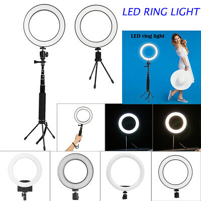 5500K Dimmable LED Ring Light Diffuser Stand Mirror Make Up Studio Video Lamp