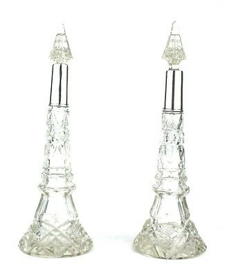 Antique Sterling Silver & Cut Glass Perfume Bottles Pair London 1914