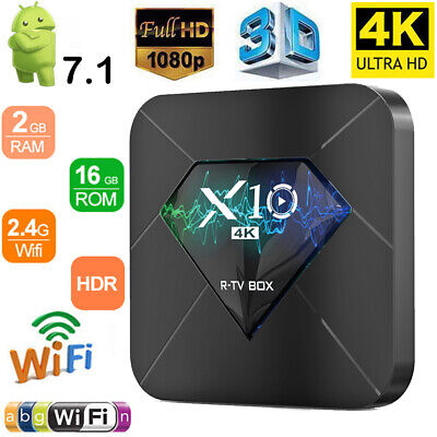 X10 2GB+16GB Android 7.1 Quad Core TV Box 4K 3D Smart HD Media Player WI-FI HDMI
