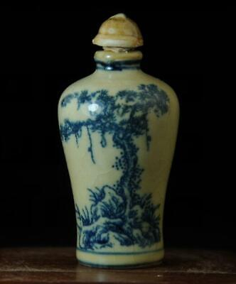 Chinese Collection Old Hand-made Blue And White Porcelain Snuff Bottle 01 A02