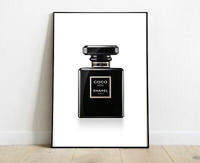 Chanel Perfume Bottle Prints Black Gold A4 Fashion Art Dressing Room Prints