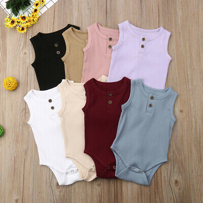 US 2019 Cute Newborn Baby Boys Girls Sleeveless Romper Jumpsuit Outfits Clothes