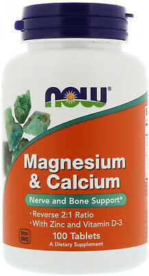 Now Foods, Magnesium and Calcium, Reverse 2:1 Ratio with Zinc and Vitamin D-3,