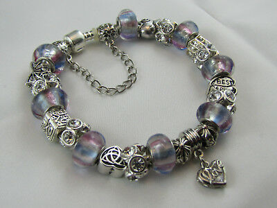 "925 STAMPED 23cm XXL SIZE EUROPEAN STYLE CHARM BRACELET  "" LOVE WITH THE LOT """