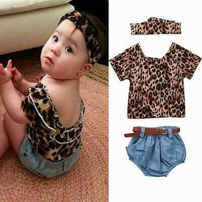 9721af0b709a Toddler Kids Baby Girl Hooded Leopard Print T Shirt Top Shorts Pants  Clothes Set