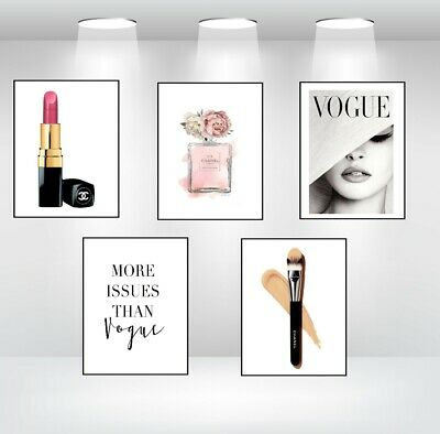 Set Of 5 Coco Chanel Perfume Bottle Prints + Vogue Quote + Chanel Make Up Art