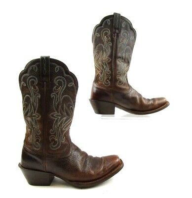 Ladies Ariat Brown Leather Square Toe Cowboy Western Boots Size: 6.5 B