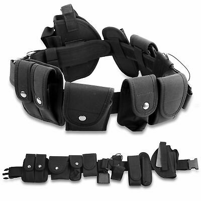 Police Guard Tactical Belt Buckles With 9Pouches Utility Kit Security System Set