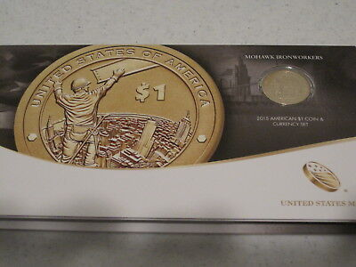 2015 American $1 Coin and Currency Set with Enhanced Uncirculated Dollar
