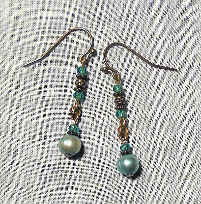 Aqua Freshwater Pearl Teal Crystal Earrings Mermaid Victorian Boho Deco Blue