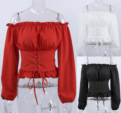 UK Women Sexy Off Shoulder Long sleeve Casual Party Tops Blouse Shirt Corset