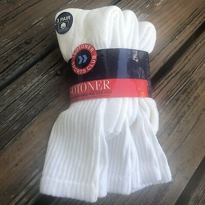 Vintage Isotoner Womens Sports Club White Cotton Socks 3 Pair New Deadstock