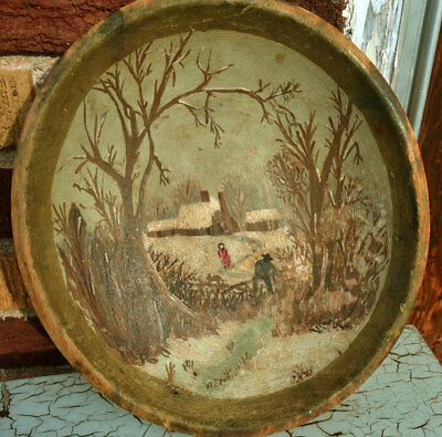 Primitive Antique Hand Painted Vintage Wooden Bowl Folk Art Winter Country Scene