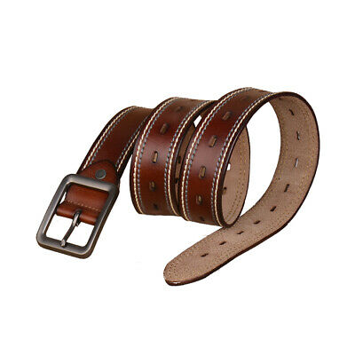 Men Double Stitch Casual Leather Belt with Single Prong Buckle Black Brown