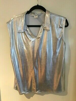 A wish come true 13048 Medium Adult Silver top sleeveless with collar