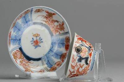 Quality! 18th Japanese Porcelain Cup & Saucer Imari Flower in Garden Red & Gold