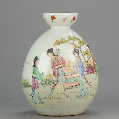 Lovely 20/21th Century PROC Chinese Porcelain Vase Woman in Garden Marke...