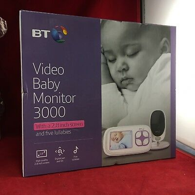 BT Video Baby Monitor 3000 Night vision, Two way Talk, Temperature Display - NEW