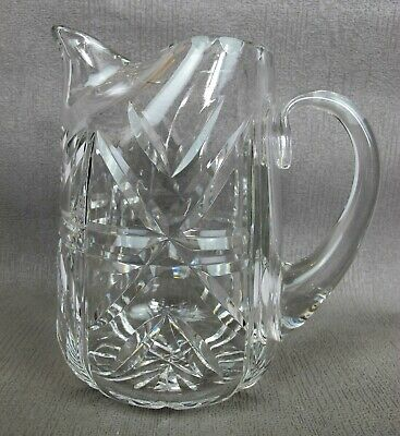 Stunning and superb quality vintage cut crystal glass WATER / LEMONADE JUG. 17cm