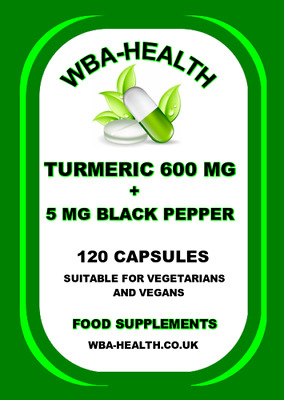 Turmeric 600 Mg & 5 Mg Black Pepper Extract ,120 Capsules !!Letter Box Friendly