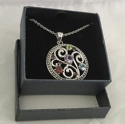 """New Multi Stone silver plated pendant with 18"""" necklace Gift for her in a Box"""