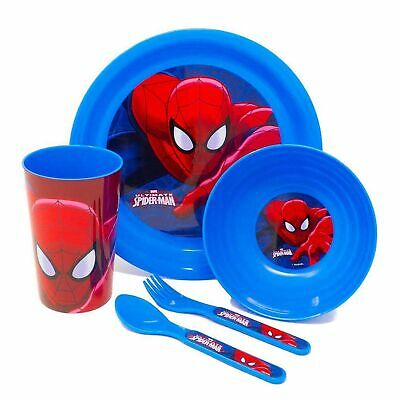 Disney/Character Kids 5 Pc Feeding Set Cup Bowl Plate Cutlery - Marvel Spiderman