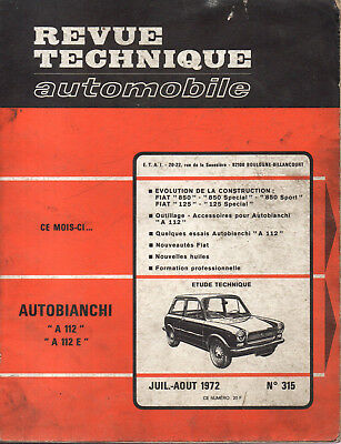 RTA revue technique automobile  n° 315 AUTOBIANCHI A112 A 112 E 1972
