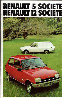 Brochure catalogue RENAULT 5 12 R5 R12 SOCIETE