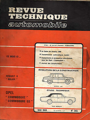 RTA revue technique automobile n° 265 OPEL COMMODORE 1968