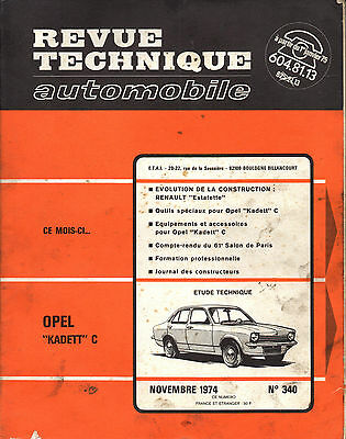 RTA revue technique automobile n° 340  OPEL KADETT 1974