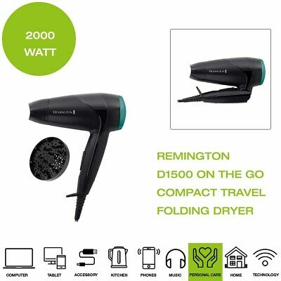 *Brand New* Remington D1500 On The Go Compact Folding Dryer, 2000W - Black