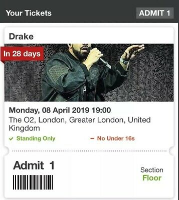 RARE Drake Assanation Tour Standing Tickets 8th April At the O2 Arena