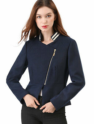Women's Short Zip Up Chic Biker Moto Jacket Stripe Contrast Collar Pea Coat