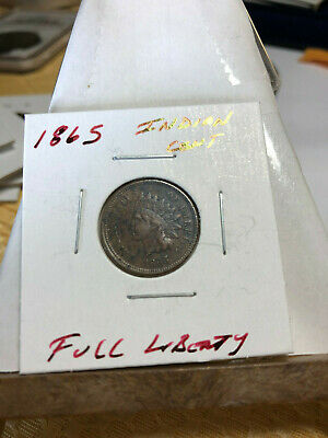 1865 Indian Head Cent -, Full Liberty, Better Date