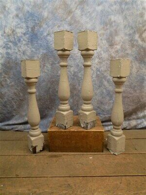 4 Chunky Wood Balusters, Wood Spindles Decor, Architectural Salvage, Farmhouse i