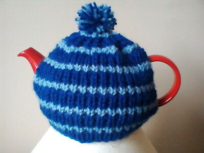 Hand knitted tea cosy, small fits two cup teapot, blue