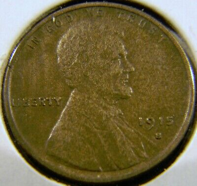 1915-S Lincoln Wheat Cent Penny, EXTRA FINE EF XF Condition, Semi-Key Date C#5