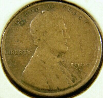 1909-S Lincoln Wheat Cent Penny FINE/VERY FINE F/VF Condition, Semi-Key Date C#9