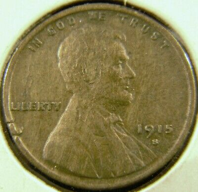 1915-S Lincoln Wheat Cent Penny, VERY FINE Condition, Semi-Key Date C#4
