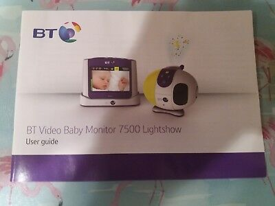 BT Video Baby Monitor 7500 Lightshow User Guide Manual Instructions