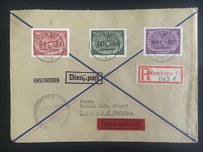 1940 Krakow GG Germany Registered cover to Lorch