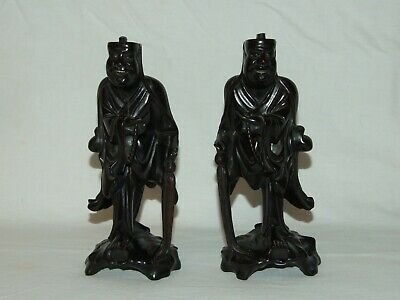 Pair of Antique Chinese Ebony Carved Old Men Figurines Statues