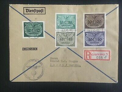 1940 Krakow GG General Government Germany Registered cover to Lorch b