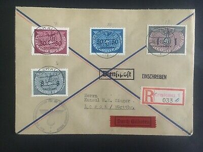 1940 Krakow GG General Government Germany Registered cover to Lorch 1 Zloty